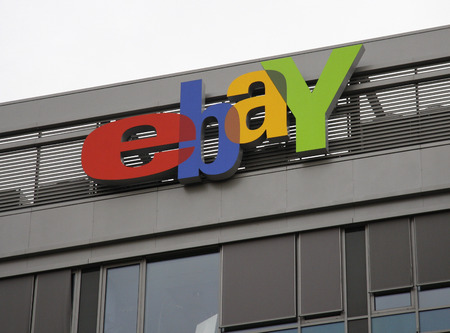 ebay: eBay logo at the German headqurters of The Internet Company ebay in Kleinmachnow, near Berlin. Editorial