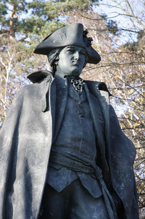 baron: Monument: Baron Friedrich Wilhelm von Steuben, Clayallee, Berlin-Dahlem.
