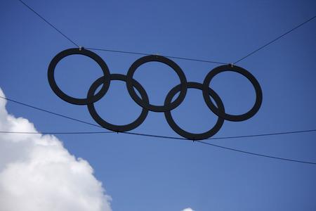 the olympic rings: Olympic rings at the Olympic Stadium, Berlin.