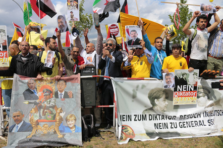 zoo as: Demonstration against the visit of Egyptian President Abd al-Fattah Sisi as in Germany, the Federal Chancellery, June 3, 2015, Berlin. Editorial