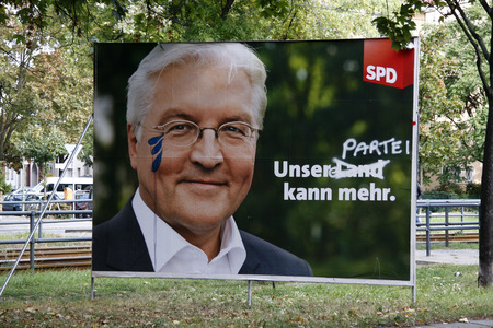 defeated: Election poster of the defeated SPD chancellor candidate Frank-Walter Steinmeier, Berlin.