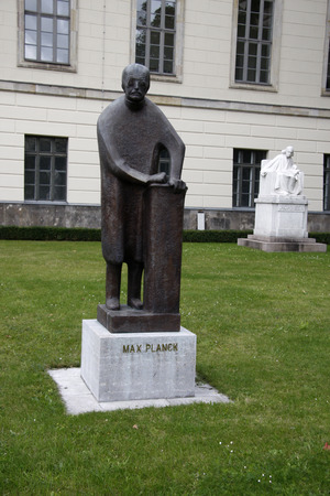 planck: Bust of Max Planck and Christian Matthias Theodor Mommsen on the campus of Humboldt Universit, Berlin-Mitte.