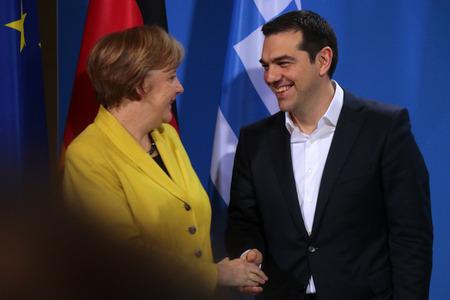 chancellerie: BKin Angela Merkel, Alexis Tsipras - R�union de la chanceli�re allemande avec le Premier ministre grec, Chancellerie f�d�rale, le 23 Mars 2015, Berlin .. �ditoriale