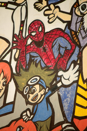spiderman: Graffity Street Art: Spiderman, Berlin. Editorial