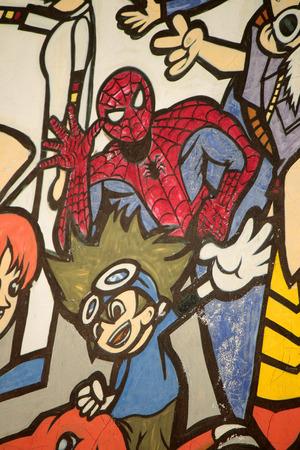 graffity: Graffity Street Art: Spiderman, Berlin. Editorial