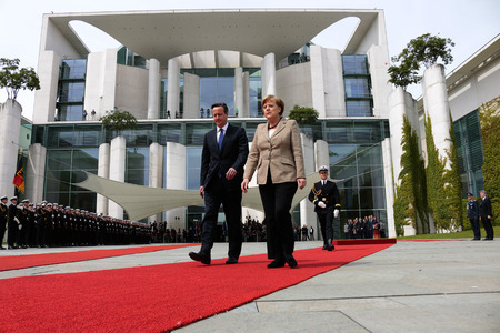 chancellor: David Cameron, BKin Angela Merkel - Meeting of German Chancellor with the British Prime Minister, German Chancellery, May 29, 2015 in Berlin.. Editorial