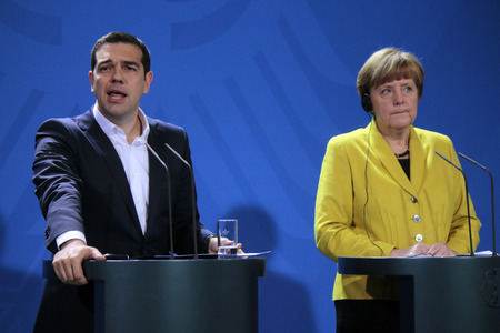 chancellor: Alexis Tsipras, BKin Angela Merkel - Meeting of German Chancellor with the Greek Prime Minister, German Chancellery, 23 March 2015, Berlin..