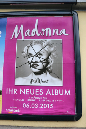 madonna: Advertising poster for a concert of Madonna, Berlin. Editorial