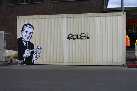 shepard: a graffiti of street artist Shepard Fairey from the Andre the Giant series, in June 2015, Berlin-Wedding. Editorial