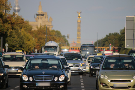 17: Traffic on the Strasse des 17. Juni, in the background Victory Column and TV Tower, Berlin. Editorial