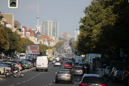 streetscene: Traffic on the highway, in the background Victory Column and TV Tower, Berlin.