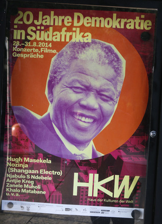 mandela: Poster with the portrait of Nelson Mandela for an event, Berlin.