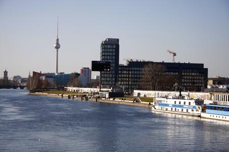 tv tower: Skyline TV Tower, Spree, Berlin-Kreuzberg. Editorial