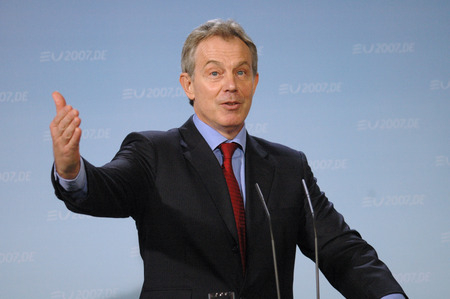 pm: Tony Blair - Meeting of German Chancellor with the British PM on 13 February 2007, the Federal Chancellery, Berlin-Tiergarten..
