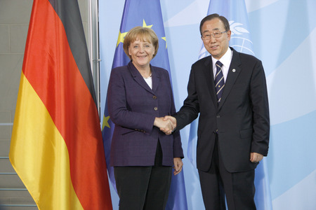 nations: Angela Merkel, Ban Ki-Moon - Meet the German Chancellor with the Secretary General of the United Nations, July 15th 2008, the Federal Chancellery, Berlin-Tiergarten..
