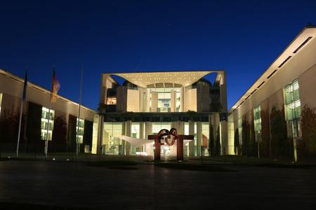 chancellery: Evening: Federal Chancellery, Berlin-Tiergarten.