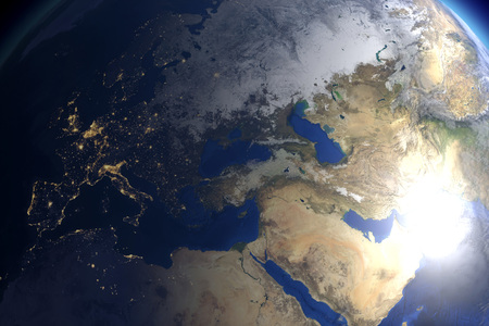 earth from space: CGI visualization: earth in space. Stock Photo