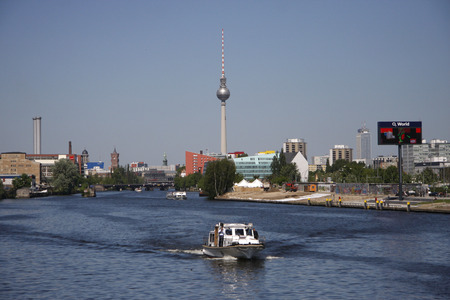 tv tower: May 2008 - Berlin: The TV Tower television tower, river Spree in the Mitte district of Berlin. Editorial