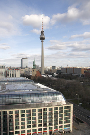 tv tower: March 2008 - Berlin: The TV Tower television tower in the middle district of Berlin.