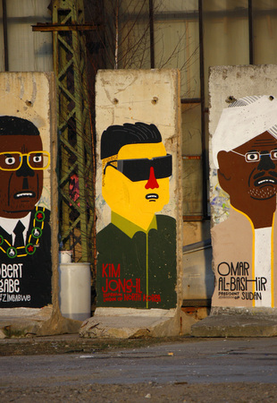 deposed: Robert Mugabe of Zimbabwe, Kim Jong-il, North Korea, Omar al-Bashir of Sudan - Mauerstuecke, are painted on the current or most recently deposed or deceased dictators, backyard, Berlin-Mitte.