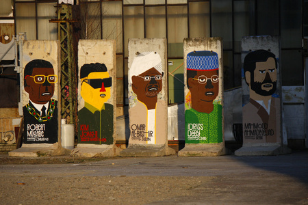 deposed: Robert Mugabe of Zimbabwe, Kim Jong-il, North Korea, Omar al-Bashir of Sudan, Idriss Deby of Chad Chad, Mahmoud Ahmadinejad Iran - Mauerstuecke, are painted on the current or most recently deposed or deceased dictators, backyard, Berlin-Mitte.