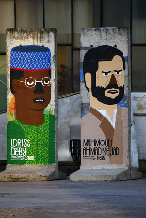 deposed: Idriss Deby of Chad Chad, Mahmoud Ahmadinejad Iran - Mauerstuecke, are painted on the current or most recently deposed or deceased dictators, backyard, Berlin-Mitte.