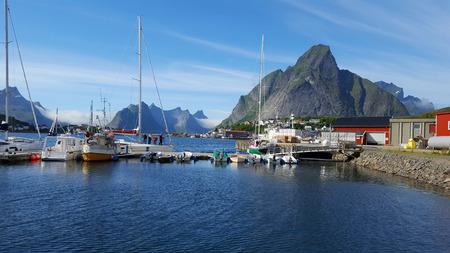 Panorama: Reinefjord, Reine, Norway. Editorial