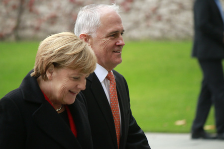 German Chancellor Angela Merkel Malcolm Turnbull - Reception with military honors - Meeting of German Chancellor with the Australian Prime Minister Chancellery 13 November 2015 Berlin