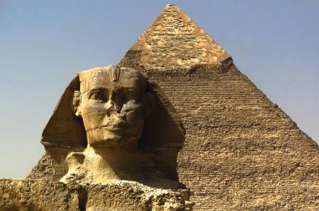 Sphinx and great pyramid 版權商用圖片