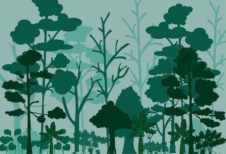 Forest landscape vector image.Many tree in the jungle.Shrubs in the forest.