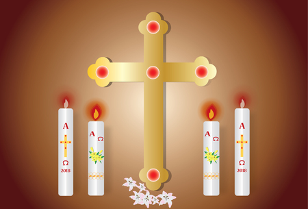 Paschal candle vector image and cross. Illustration