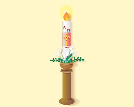 Paschal candle vector image. Иллюстрация
