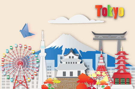 Tokyo travel and most famous landmarks,paper art style.