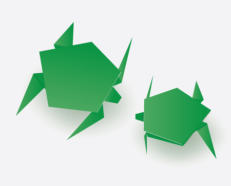 Green origami paper art turtles illustration. Standard-Bild - 118030419