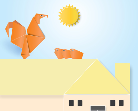 Chicken and chick origami standing on the roof with sunrise,vector illustration.