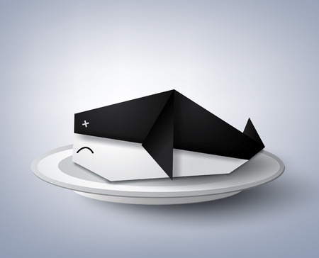 A vector illustration of origami whale in the plate. Иллюстрация