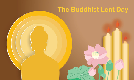 Buddhist lent day with lotus  and three yellow candles,vector illustration.  イラスト・ベクター素材
