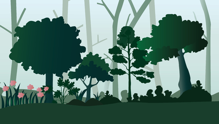 A forest landscape with trees and shrubs, vector illustration.