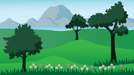 Landscape with green meadows,trees,lake and mountains,vector illustration.