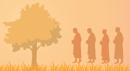 Buddhist monks with alms-bowl are walking ,vector illustration. Illustration