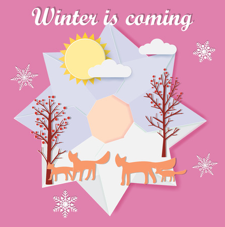 Winter is coming with origami wreath and red foxs family,vector illustration paper art style.