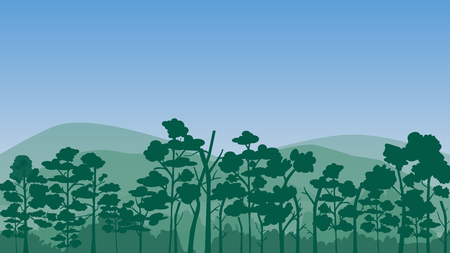 Forest landscape with blue sky, vector illustration.Many tree in the jungle.Shrubs in the forest.