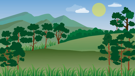 Forest landscape with blue sky and sun,mountain, vector illustration.Many tree in the jungle.Shrubs in the forest.