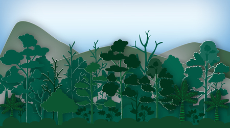 A forest landscape with trees,bushes and mountains vector illustration. 向量圖像