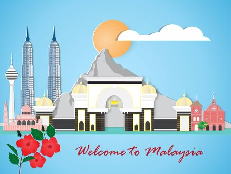 Malaysia travel and most famous landmarks, paper art style.