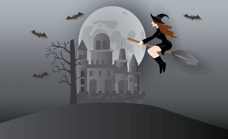Beautiful witch on broom and haunted castle,Halloween night,vector illustration.