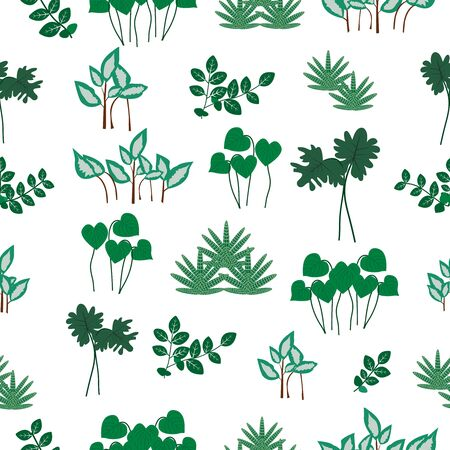 Vector seamless pattern with different leaves. 矢量图像