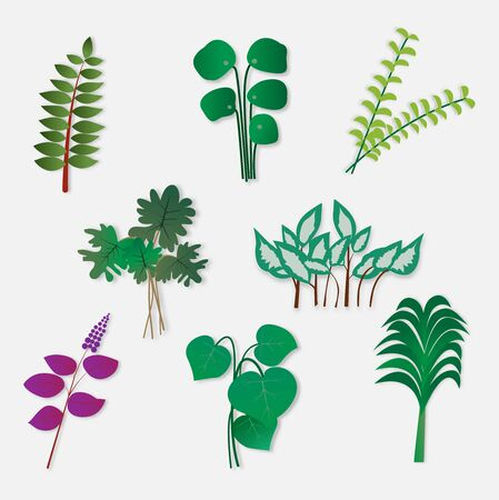 Different leaves collection,vector illustration paper art style. Ilustração