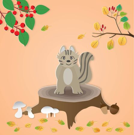Cute squirrel standing on a stump and autumn background,vector illustration paper art style.  イラスト・ベクター素材