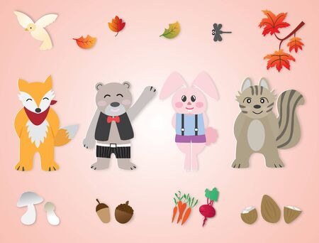 Cute animal autumn and autumn background,vector illustration paper art style.